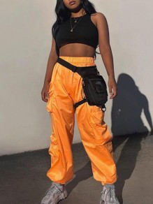 Orange Pockets High Waisted Boyfriend Sports Going out Casual Long Cargo Pants