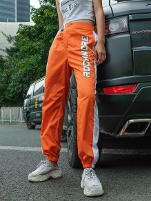 Orange Letter Rock Mehr Patchwork Schnallen Fashion Streetwear Sport Hip Pop Lange Hosen
