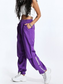Purple Letter Pockets Print Sport Running High Waisted Fashion Cargo Pants