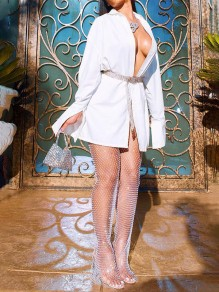 White Cut Out Slit Sheer Fishnet Cover Up Glitter Sparkly Party Clubwear Long Mesh Rhinestone Pants