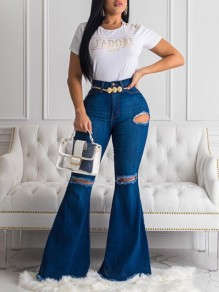 Dark Blue Pockets Ripped Distressed Denim Flare Bell Bottom High Waisted Casual Long Jeans