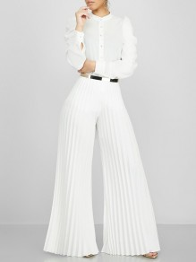 White Pleated Palazzo Pants Flared Work Casual Long Pants