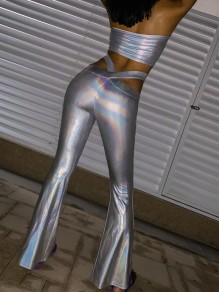 Multicolor Cut Out Reflective Holographic Glitter Sparkly Birthday Party Flare Bell Bottom Hot Long Pants