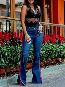 Blue Patchwork Strip Pockets Buttons High Waisted Slit Flare Casual Long Pants