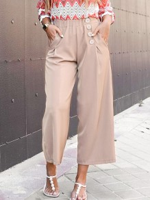 Apricot Button Pocket High Waisted Wide Leg Elegant Long Pants