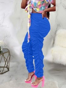 Blue High Waisted Drawstring Waist Ruched Push Up Long Pants