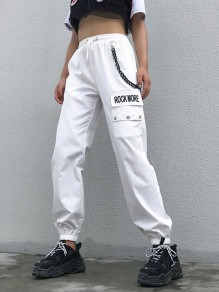"White ""ROCK MORE"" Print Pockets Drawstring Waist With Chain Long Cargo Pants"