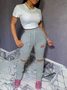 Grey Pockets Drawstring Waist High Waisted Ripped Destroyed Long Stacked Legging Pants