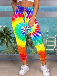 Red Sauce Neon Tie Dyeing Drawstring Pockets High Waisted Harem Casual Sports Long Pant