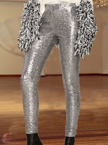 Silver Sequin Sparkly High Waisted Fashion Long Pants