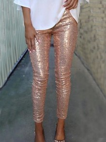 Cichic Rose Golden Pailletten Glitzer Hohe Taille Lange Hosen Leggings Damen Mode