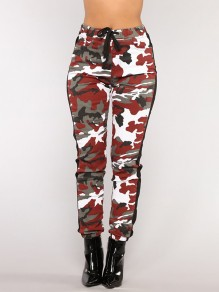 Burgundy Camouflage Print Pockets Drawstring Belt Long Casual Cargo Pants