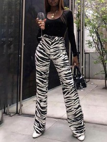 Black-White Zebra Skin Print Pockets High Waisted Long Wide Leg Palazzo Pants
