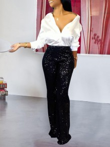 Black Patchwork Sequin High Waisted Glitter Sparkly Birthday Party Wide Leg Palazzo Pants Long Pants