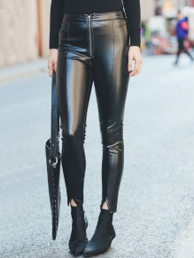 Black PU Leather Zipper High Waisted Fashion Long Pants