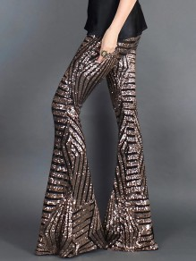 Brown Sequin Geometric Print High Waisted Glitter Sparkly Birthday Party Flare Bell Bottom Long Pants