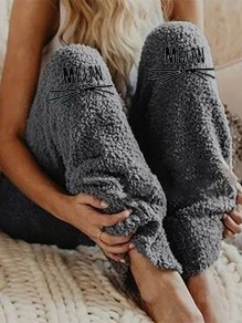 Grey Animal Embroidery New Fashion Latest Women Mid-rise Fashion Long Pants