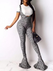 White-Black Geometric Pattern High Waisted Flare Bell Bottom Long Overall Pants