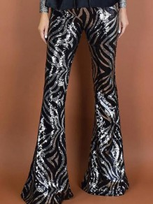 Black Geometric Sequin NYE Sparkly High Waisted Flare Bell Bottom Long Pants