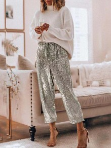 Silver Sequin Drawstring High Waist Loose Glitter Sparkly Birthday Party Long Pants