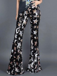 Black Starry Sequin Print High Waisted Flare Bell Bottom Star Long Pants