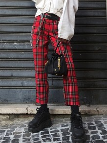 Red Plaid Buttons Comfy Loose Nine's Mid-rise Fashion Pants