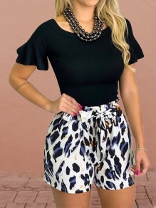 Blue Leopard Belt Pockets High Waisted Fashion Short Pant