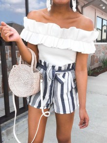 Navy Blue White Striped Pockets Sashes Bow High Waisted Fashion Shorts