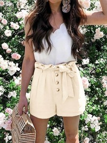 Apricot Patchwork Belt Pockets High Waisted Fashion Shorts Pant