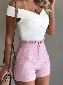 Pink Patchwork Studded Ruffle High Waisted Fashion Shorts Pant