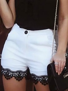 White Patchwork Lace Bodycon Ttrendy Comfy Going out Shorts