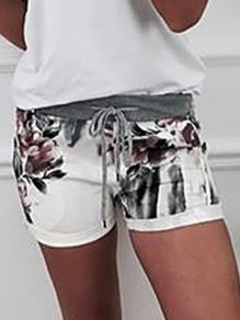 Black Floral Drawstring Pockets Bodycon Comfy Going out Shorts