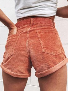 Brick Red Pockets Buttons High Waisted Pleuche Corduroy Casual Shorts