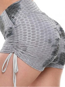 Grey-Black Patchwork Tie Dye Pleated Ruched High Waisted Push Up Sports Shorts