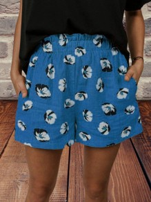Blue Floral Pocket Loose High Waisted Fashion Shorts