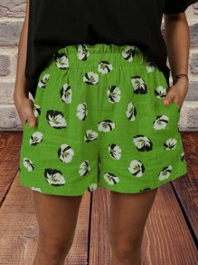 Green Floral Pocket Loose High Waisted Fashion Shorts