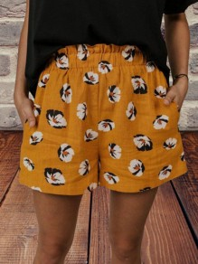 Yellow Floral Pocket Loose High Waisted Fashion Shorts