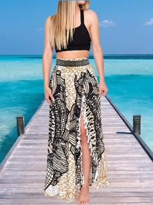Black Floral Print Tassel Side Split Bohemian Long Skirt