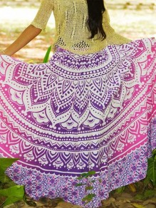 Purple Tribal Print Pleated High Waisted Bohemian Beachwear Long Skirt