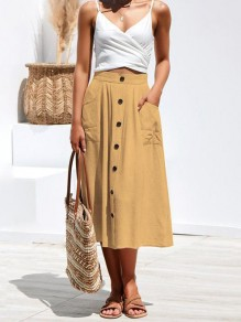 Khaki Patchwork Pockets Single Breasted Buttons Going Out Skirt