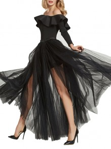 Black Grenadine Elastic Waist Mid-rise Side Slits Fluffy Puffy Tulle Long Flowy Skirt