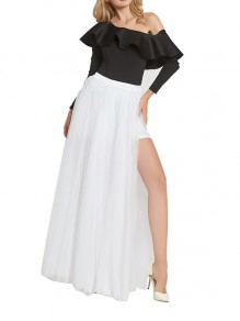 White Grenadine Elastic Waist Mid-rise Side Slits Fluffy Puffy Tulle Long Bridesmaid Skirt