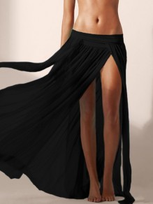 Black Grenadine Elastic Waist Mittelhohe Seitenschlitze Beach Cover Up Long Skirt