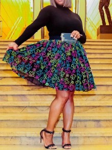 Black Patchwork Grenadine Floral Embroidery High Waisted Skater Tutu Flare Midi Skirt
