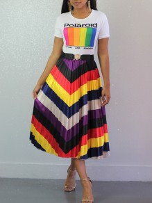 Red Rainbow Striped Pleated High Waisted Party Long Skirt