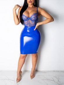 Blue PU Leather Latex Vinly Patchwork Lace Cut Out Shoulder-Strap V-neck 2-in-1 Hip Bodycon Clubwear High Waisted Party Mini dress