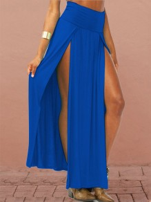 Blue Patchwork Irregular Draped Slit Fashion Long Skirt