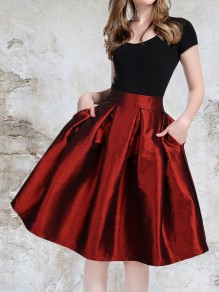 Burgundy Pockets Pleated High Waisted Fashion Elegant Prom Mini Skate Skirt