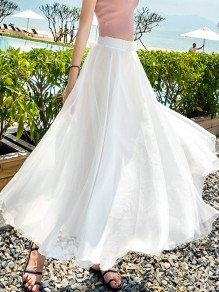 White Draped Chiffon Flowy High Waisted Elegant Going out Skirt