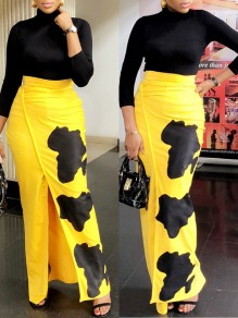 Yellow Color Block Print Slit High Waisted Fashion Maxi Skirt